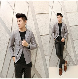 Men's Slim Casual Fashion Blazer Suit Jacket Coat Outwear Gray