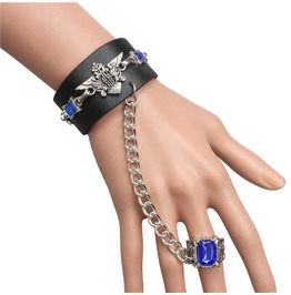 Punk Unique Black Butler Bracelet With Sapphire Ring