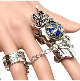 Men's Punk Hitman Reborn Rotating Gem Finger Joint Rings