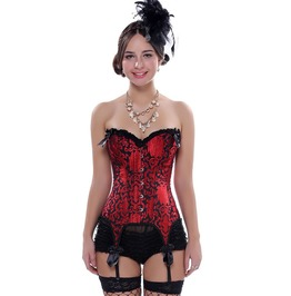 Red Black Jacquard Bow Knot Burlesque Lace Up Boned Overbust Corset