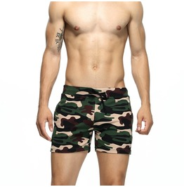 Men's Drawstring Casual Fitted Camouflage Shorts With Pockets