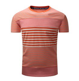 Men's Round Collar Striped Short Sleeve Casual Fitted T Shirt