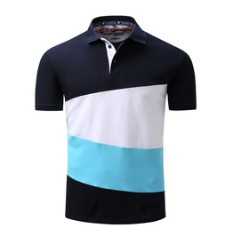 Men's Casual Cotton Contrast Turn Down Collar Short Sleeve Polo Shirt
