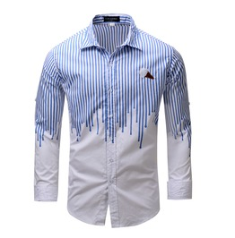 Men's Stripes Point Collar Button Down Long Sleeves Casual Shirt