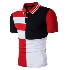 Men's Casual Contrast Color Turn Down Collar Short Sleeves Polo Shirt