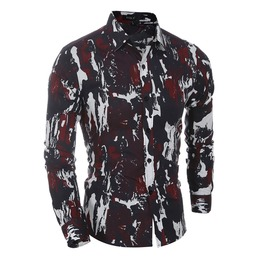 Men's Casual Printed Slim Long Sleeves Shirt