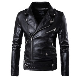 Men's Punk Belted Design Slim Fitted Faux Leather Zipper Biker Jacket