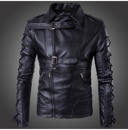 Men's Punk Zipper Side Lace Up Faux Leather Motorcycle Biker Jacket