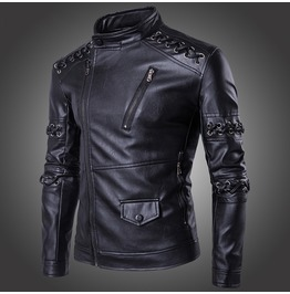 Men's Punk Knit Stand Collar Biker Jacket