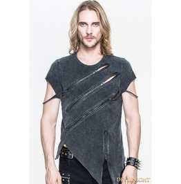 Black Gothic Zipper Short Sleeves T Shirt For Men Tt061