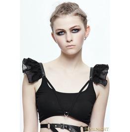Black Gothic Short Top For Women Tt069