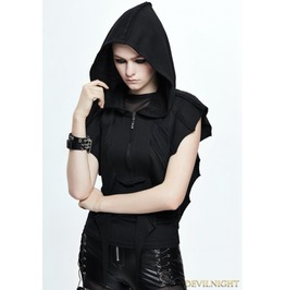 Black Gothic Bat Style Short Hooded Jacket For Women Ca007