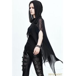 Black Gothic Bat Style Hooded Cape For Women Ca008