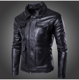 Men's Punk Zipper Multi Pockets Biker Jacket