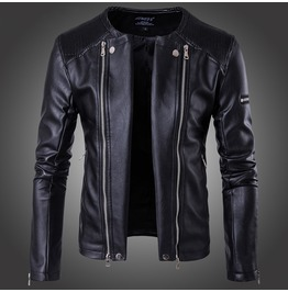 Men's Punk Zipper Biker Jacket Black