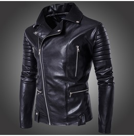 Men's Punk Multi Zipper Biker Jacket Black