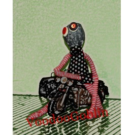 Voodoo Doll Ragged Clyde Mixed Media 8 X 10