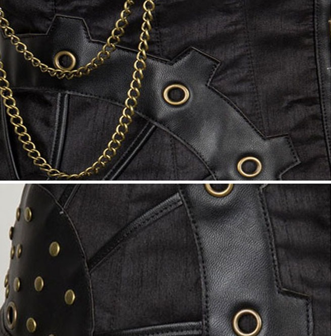 8c90d25ec Black Steampunk Faux Leather Brass Chain Detail Steel Boned Vest Corset