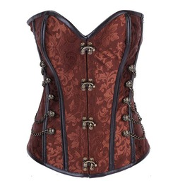 Brown Brocade Brass Swing Hook And Metal Chains Steel Boned Overbust Corset
