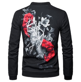 Men's 3 D Flower Printed Baseball Jacket