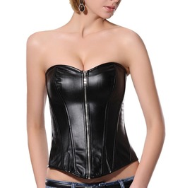 Faux Leather Zipper Closure Gothic Bustier Overbust Corset