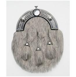 Grey Scottish Rabbit Fur Leather Sporrans For Kilts Sca Medieval Bag Pouch