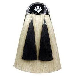 White Horse Hair Sporran With Plain Cantle