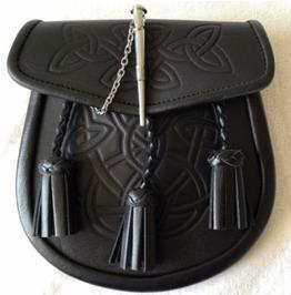 Cowhide Black Leather Scottish Kilt Sporran With Pin Lock & Tassels