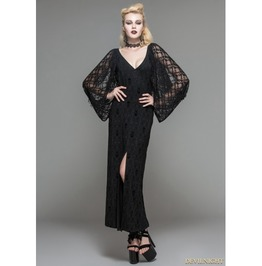 Black Lacy Long Sleeves Gothic Maxi Dress Skt035