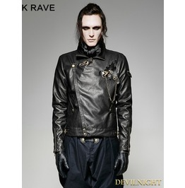 Black Steampunk Short Gear Leather Coat For Men Y 701