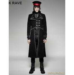 Black Military Unifrom Long Coat For Men Y 713 Bk
