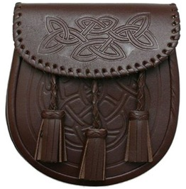Brown Leather Embossed Scottish Kilt Sporran Bag With Belt And Chain