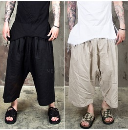 Linen Wide Baggy Drawcord Crop Pants 149