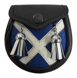 Scottish Flag Kilt Sporran Leather Made Modern Utility Kilt Sporran Bag