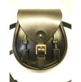 Premium Quality Leather Black Scottish Sporran Bag And Chain Belt