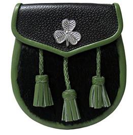 Shamrock Design Scottish Kilt Sporran In Pure Leather With Chrome Badge