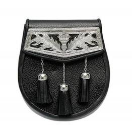 Celtic Nations Black Leather Scottish Kilt Sporran Bag With Badge & Tassels