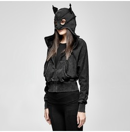 Punk Rave Women's Catwoman Casual Hooded Jackets With Pockets Py208