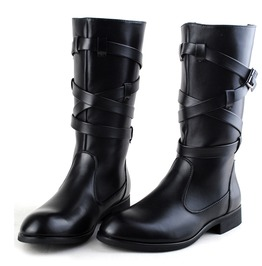 Buckle Strap Bandage Faux Leather Pointed Zipper Martin Boots