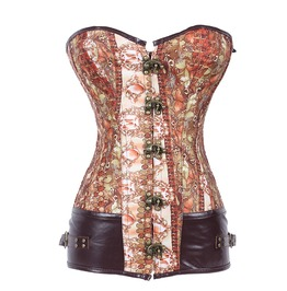 Women's Vintage Buckle Down Lace Up Back Corset