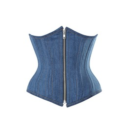 Women's Punk Zipper Down Lace Up Denim Corset