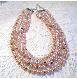 50 Shades Of Pink Vintage Re Worked Multi Strand Glass Pearl Necklace
