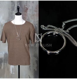 Simple Big O Ring Metal Chain Necklace 59