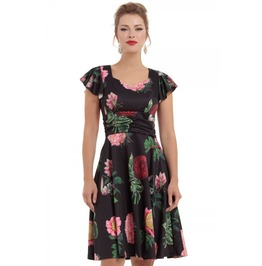 Voodoo Vixen Mabel Black Floral Flare Dress