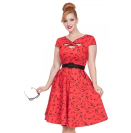 Voodoo Vixen Connie Red Flared 50s Dress