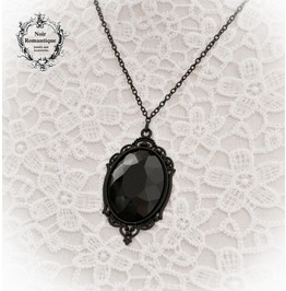 Black Gothic Gem Cameo Necklace