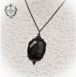Black Gothic Gem Cameo Necklace