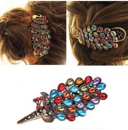 Fashion Retro Vintage Multicolor Crystal Rhinestones Peacock Hairpin Clip