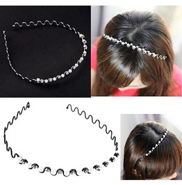 Elegant Bridal Fashion Wavy Metal Rhinestone Faux White Pearl Headbands