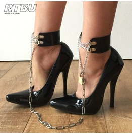 12cm Fetters Stiletto Fetish Dominatrix Chain Padlock + Key Shackles Strap